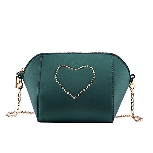 - MaxFox Women Love Rivet Crossbody Girls Chain Shoulder Bag Messenger Shell Satchel Handbags for Mobile Phone & Coin (Green)