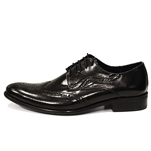 Modello Grobbo - Cuero Italiano Hecho A Mano Hombre Piel Negro Wing Tip Zapatos Oxfords - Cuero Cuero repujado - Encaje