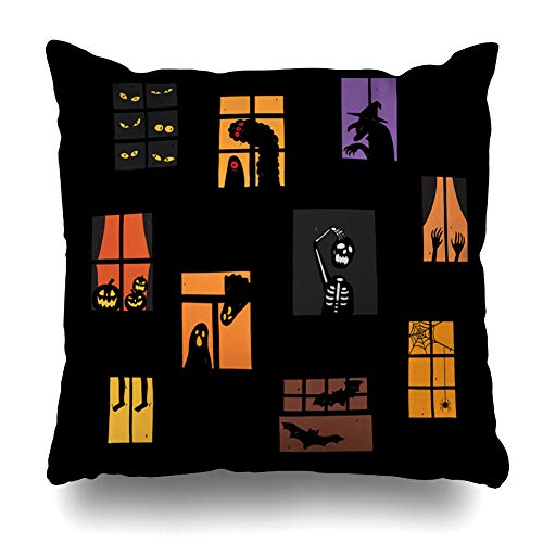 Kutita Decorative Pillow Covers 18 x 18 inch Throw Pillow Covers, of Halloween Windows Silhouette Set Very Easy to Edit Pattern Double-Sided Decorative Home Decor Pillowcase -