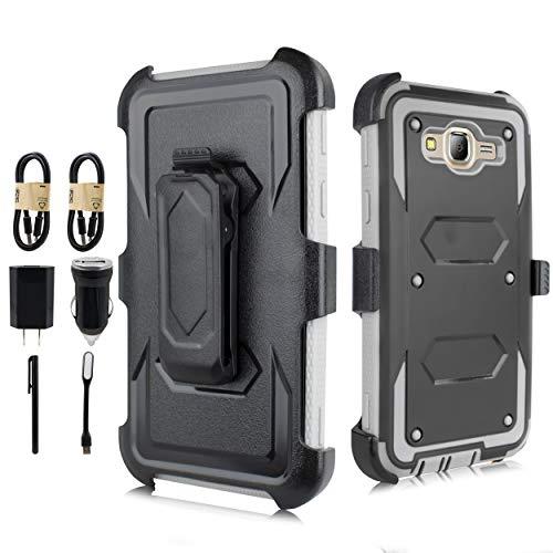 for Galaxy J7 Case,J7 Case(Not Fit Galaxy J7 2016), Heavy Duty Defender [Built in Screen] Shockproof Case w/Belt Swivel Clip Kickstand for Samsung J7 J700(2015) [Value Bundle] (Black Gray)