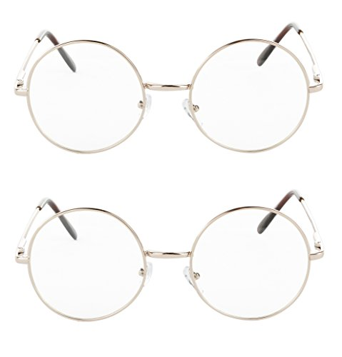 Round Non Prescription Glasses For Men And Women 2 Pack Gold Circular - Frames Circular Glasses