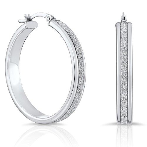 Sterling Silver Glitter Round Hoop Earrings (1.2 Inch Diameter)