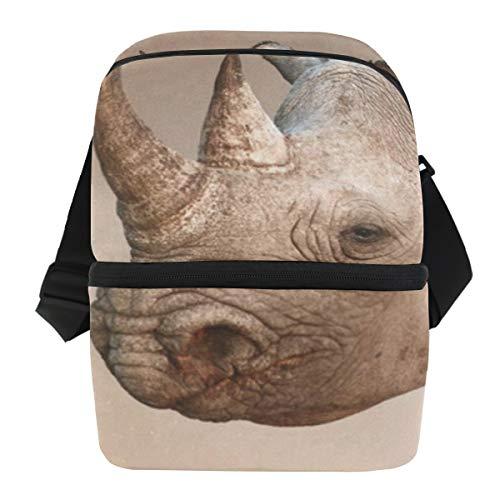 Lunch Bag Black Rhinoceros Portrait Reusable Cooler Bag Womens Leakproof refrigerator Box Zipper Tote Bags for Golf