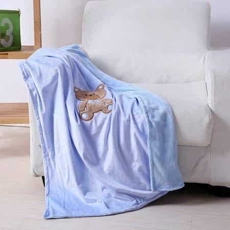 "(Blue Teddy Bear Baby Blanket Fleece Throw 40""x 30"")"
