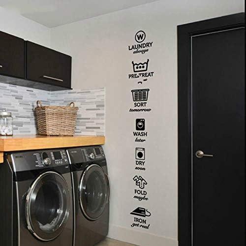 Die regeln der wäsche aufkleber wäsche tag aufkleber muster waschen trocken falten eisen wäscheraum wandaufkleber aufkleber, 2