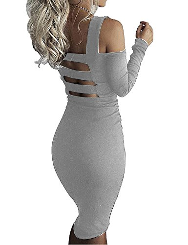 Sexy Gray Off Bandage Women Bodycon Party Sleeve Allegrace Dresses Long Stretch Shoulder 5URTOnqfw