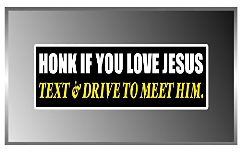 - 3 Pack - Honk If You Love Jesus Funny Message Vinyl Decal Bumper Sticker