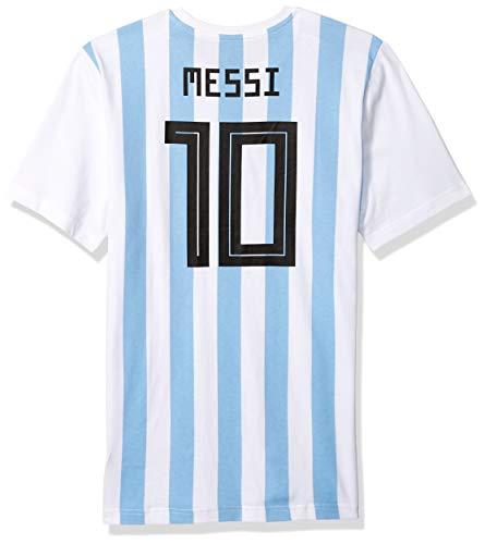 adidas World Cup Soccer Argentina Youth Boys Messi Tee, Small, White