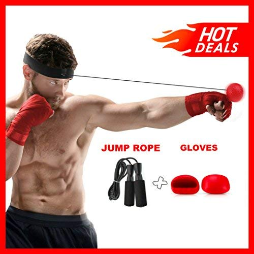 Boxing Reflex Ball Bundle With Headband, Gloves & Jump Rope, Gym Equipment to Improve Speed, Agility and Conditioning, Adult/Kids Gift MMA Sports Fight Workout Exercise Practice Training and Fitness by Athletics Pro