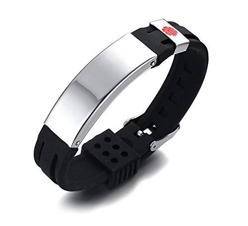 Free Engraving Stainless Steel & Black Silicone Belt Buckle Adjustable Medical Alert ID Bracelets Band for Men Boy