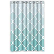 "48""(w) x 72""(h) Hot Sale Teal Fade Moroccan Tile Quatrefoil Bathroom Shower Curtain(Rideau de douche) Shower Rings Included, 100% Polyester"