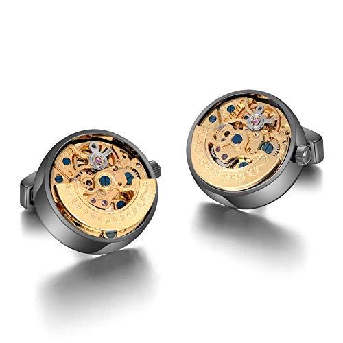 MERIT OCEAN Mechanical Movement Cufflinks Steampunk Watch Cuff Links Business Wedding Gifts ()