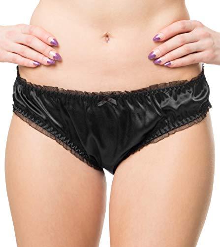 RedRose Women's Sexy Lingerie Satin Bikini Briefs Panties Knickers (Black, S - US 2-4)