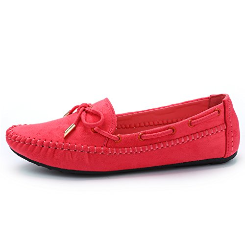 ODEMA Women Slip on Bow Moccasins Loafers Flats Driving Shoes Suede Leather Boat Shoes Red eKqQC