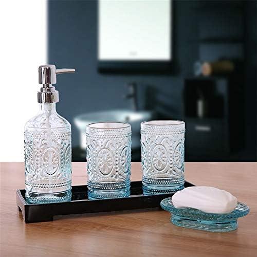 FXin バスルームセット、ヨーロッパ彫刻クリスタルガラスバスルームアメニティ5セット6セット、ホームバスルーム装飾装飾品 シャワー室 (Size : Six-piece)