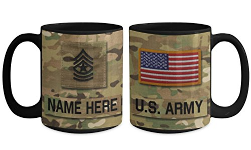 Sergeant Coffee Mug (US Army Sergeant Major (SGM), E9 Mug - Personalized - Customize with Name/Text/Rank; 15 oz Cup - Gift for Veteran, Dad, Husband, Mom, Wife, Brother, Sister, Son, Daughter)