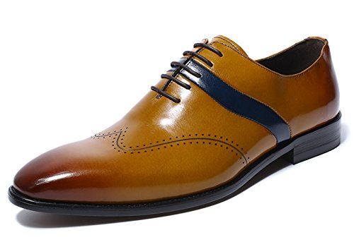 Felix Chu Men's Business Dress Shoes Men Genuine Leather Tan Brown Italian Fashion Male Shoes (Leather Shoes Italian Handmade Loafer)