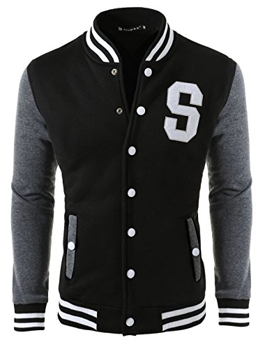 uxcell Men Long Sleeve Letter Print Casual Varsity Jacket Black L (US 44)