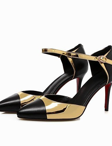 ShangYi Damens's Schuhes Leder Stiletto Heel Heels / Toe Pointed Toe / Sandales / Heels Outdoor / Office & Career / Casual schwarz golden 4ed034