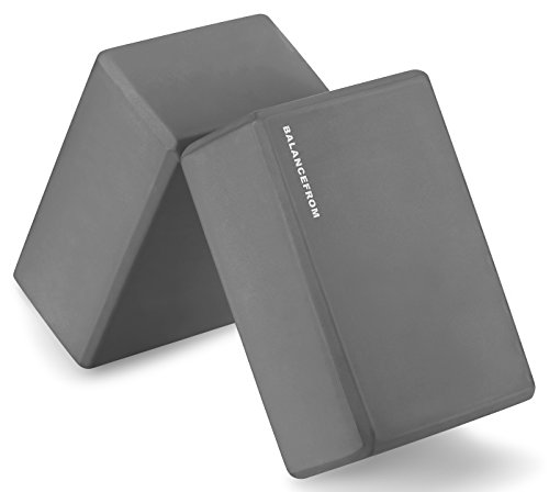 "BalanceFrom GoYoga Set of 2 High Density Yoga Blocks, 9""x6""x4"" Each (Gray)"