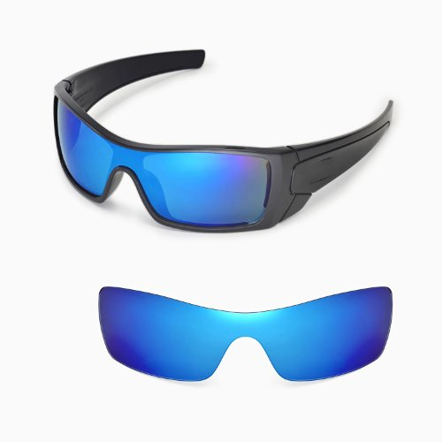 Walleva Replacement Lenses for Oakley Batwolf Sunglasses - Multiple Options Available (Ice Blue Coated - Polarized)