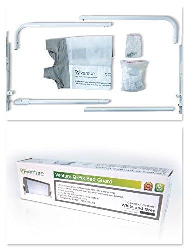 Venture QFix Bed Guard Portable And Foldable Rail 99cm X 42cm WhiteGrey Amazoncouk Baby