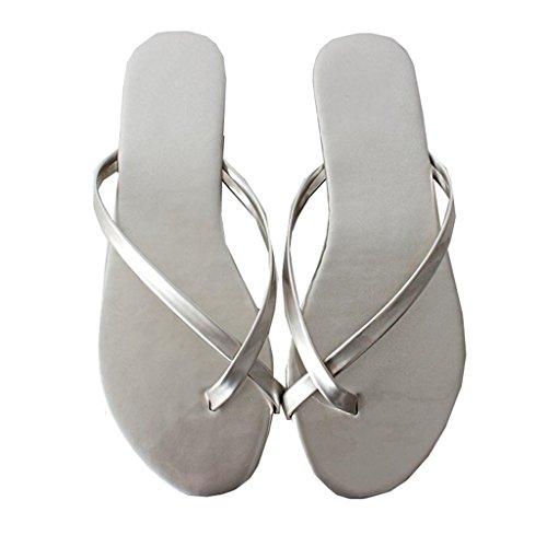 39 Couleur pour pour en Silver Abricot Loisirs Oxford Talon Chaussures Pantoufle 5 Sandale Plat Slip on Taille 7 Seaside EU Lanières Toe Plage Clip Croix US Été Femme Tongs PU Zwq41Ct