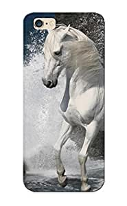 Flyinghouse Scratch-free Phone Case For Iphone 6 Plus- Retail Packaging - White Horse On The Beach