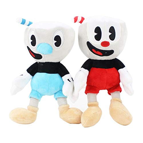 LQT Ltd 2PCS/Set Stuffed Animals Video Game Cuphead Plush Mugman Boss The Devil Legendary Chalice Soft Stuffed Plush Doll Toys Kids Gifts