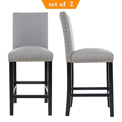 GOTMINSI Nailhead 24 Inches Counter Height Stools Upholstered Bar Stools with Solid Wood Legs, Set of 2 (Grey)