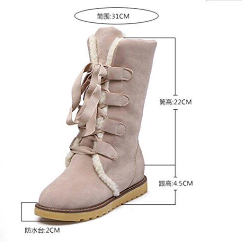 Frauen Winter Mode Schnee Verband Stiefel Frau rutschfeste Stiefeletten Freizeit Schuhe Beige