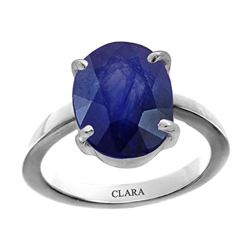 Clara Certified Blue Sapphire (Neelam) 8.3cts or 9.25ratti original stone Sterling Silver Astrological Ring for Men and Women by Clara