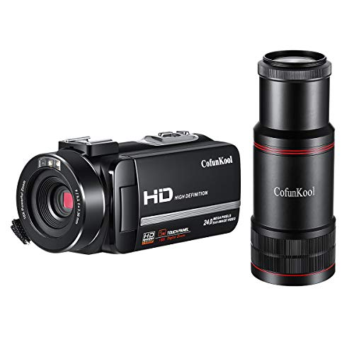 CofunKool Camcorder 1080P Full HD Night Vision Digital Video Camera Recorder with Monocular Remote Control Motion Detection