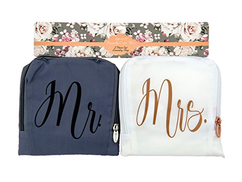 (Miamica Mr. and Mrs. Bridal Travel Laundry Bag, Gray and White)