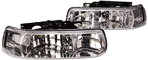 Spec-D Tuning LH-SIV99-RS Chevy Silverado Suburban Tahoe Euro Crystal Chrome Clear Headlights ()