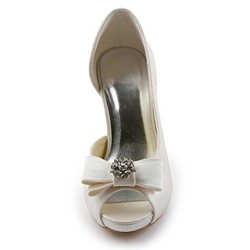 Elegantpark Mujer Bombas De Tacón Alto Plataforma Peep Toe Dorsay Arcos Rhinestones Satin Evening Prom Boda Zapatos Marfil