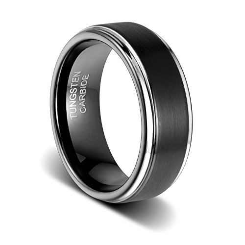 TUSEN JEWELRY 8mm Mens Wedding Band Black Tungsten Carbide Ring Matte Brushed Step Edge Size:9 - Men Tungsten Step Edges
