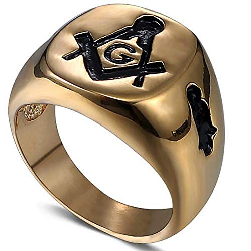 Jude Jewelers Stainless Steel Classical Plain Signet Style Masonic Ring (Gold, 16) (Masonic Signet Ring)
