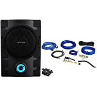 Package: Planet Audio P8UAW 8 800 Watt Powered Low Profile Under-Seat Subwoofer With 3-Way Protection and Remote + Rockville RWK81 8 Gauge 2 Channel Complete Wire Kit With RCA Cable