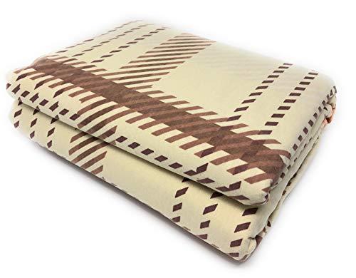 Maymarg Bedding%100 Cotton Heavyweight Flannel Plaid Flat Sheet (Brown Plaid, Queen)