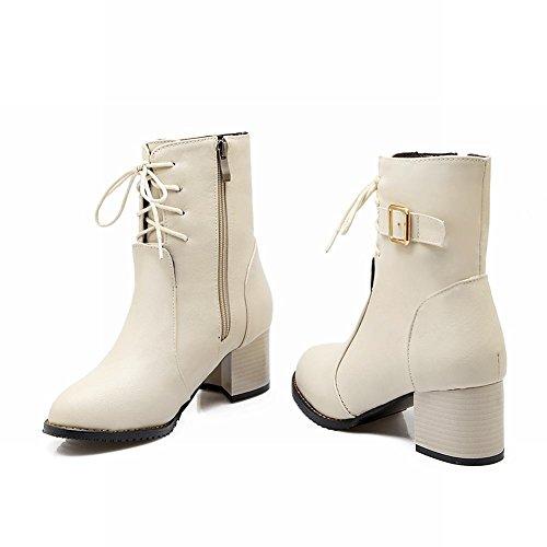 Carolbar Femmes Plus La Taille Zip Lacets Boucle Vintage Mi-talon Hiver Bottes Courtes Beige
