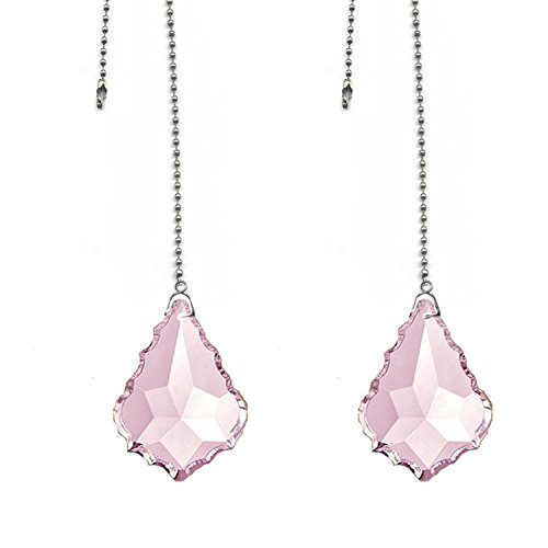 Magnificent crystal 50mm Pink Crystal Pendeloque Prism, 2 Pcs Dazzling Crystal Ceiling Fan Pull Chains