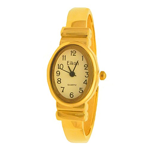 Yellow Gold Metal Tiny Stainless Steel Clasp Bangle Clamp Mini Japanese Movement Women Watch