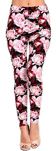 VIV Collection Regular Size Printed Brushed Leggings (Pink Red Rose - Rose Collections Red