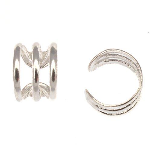 Paire de boucles d'oreille à triple bande en argent sterling