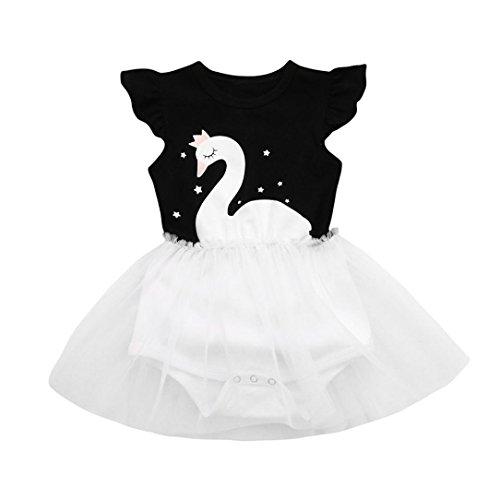 Girls Princess Dress,Leedford Star Swan Print Net Yarn Splicing Sleeveless Princess Tutu Skirt Dresses (12M, Black) by Leedford