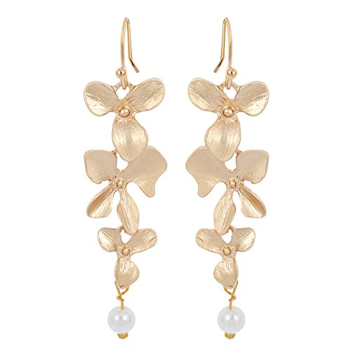 ONE A DAY Gold Earrings Orchid and Pearl Wire Dangle Drop Earring Earrings for Women - Orchid Drop Pendant