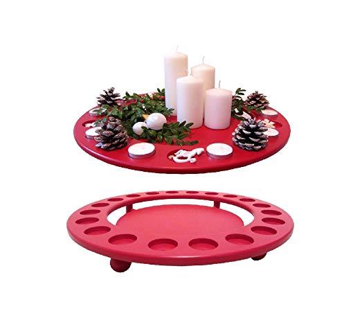 Khevga Adventskranz Modern Aus Holz Mit Kerzen Und Led Kerzen