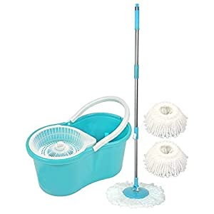 Souxe Spin Bucket Mop with 2 Refills- Super Absorbent Refills for All Type of Floors, 360 Degree Spin Bucket, 180 Degree…