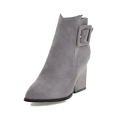 Closed Heels High Low Boots top Solid Frosted Gray Women's Pointed Toe Allhqfashion taCwqTz